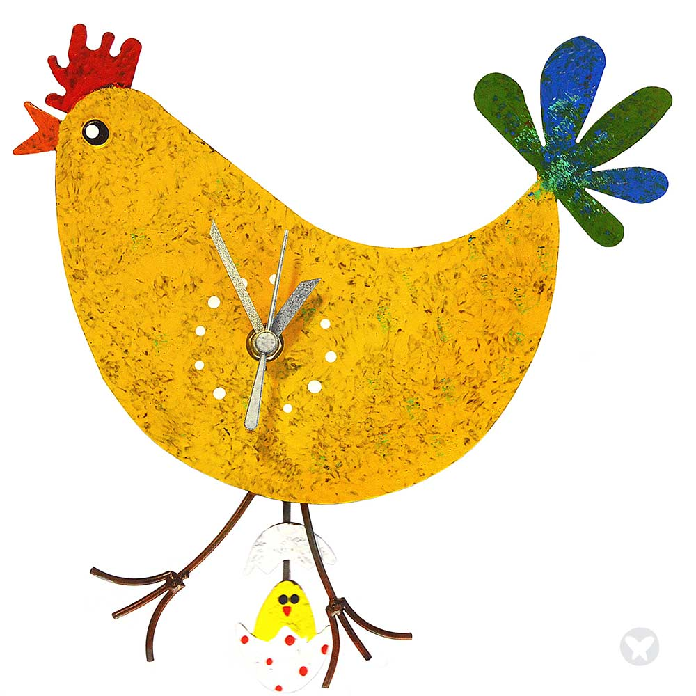 Clocks :: Chicken wall clock with egg yellow