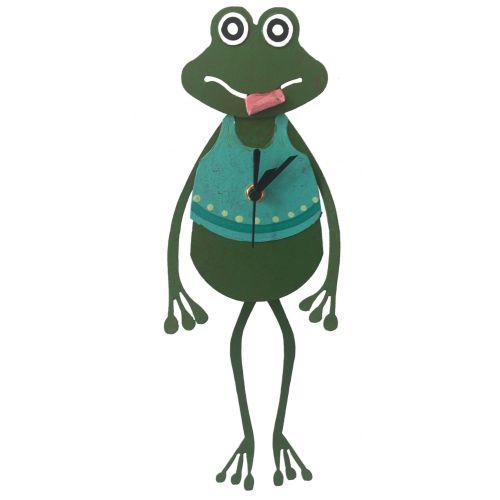 Frog wall clock teal
