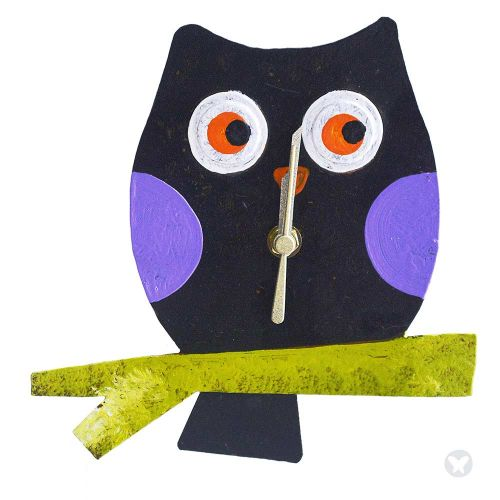 Baby owl wall clock black