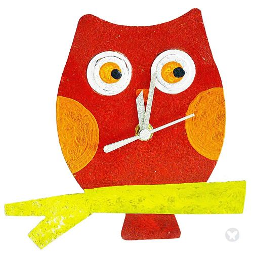 Baby owl wall clock red
