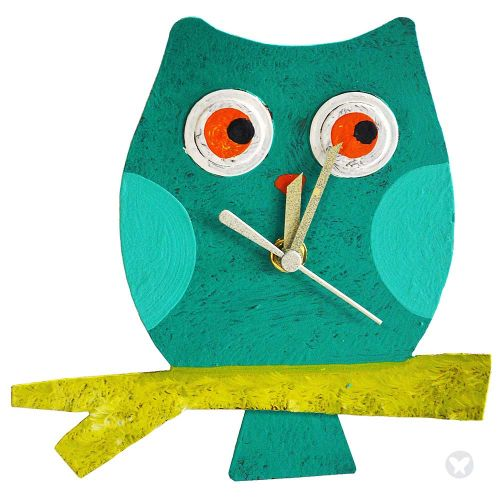 Baby owl wall clock teal