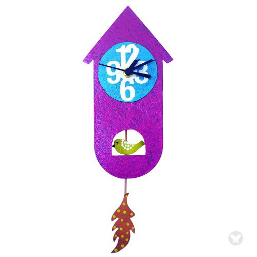 Bird house wall clock fuccia