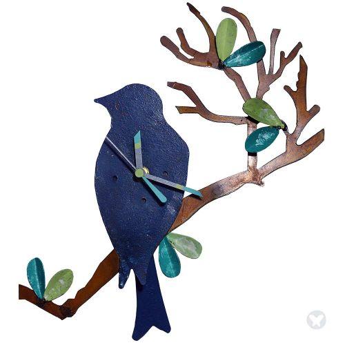 Bird in branch wall clock blue