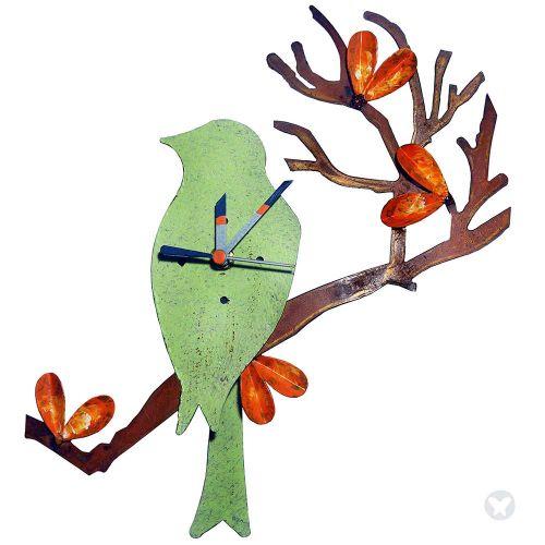 Bird in branch wall clock green