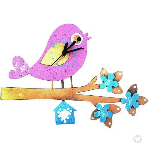 Bird in branch wall clock pink