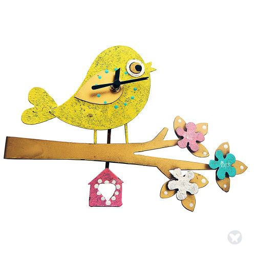 Bird side wall clock yellow