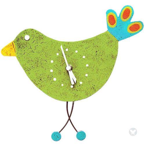 Bird wall clock green