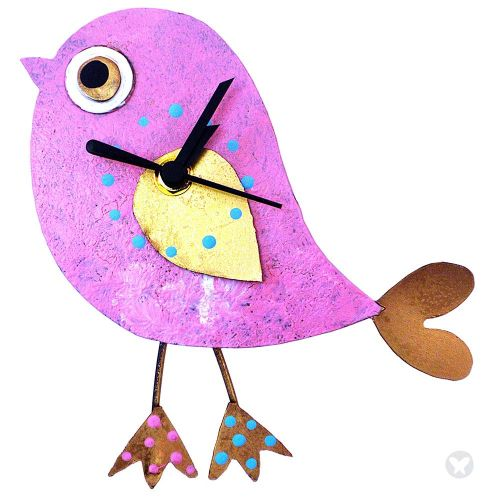 Bird wall clock pink