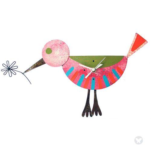 Bird wall clock pink