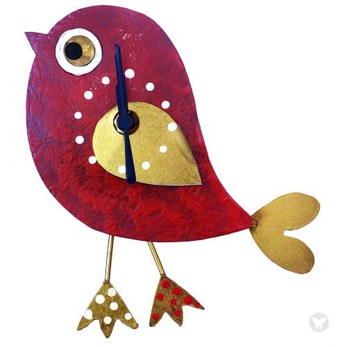 Bird wall clock red