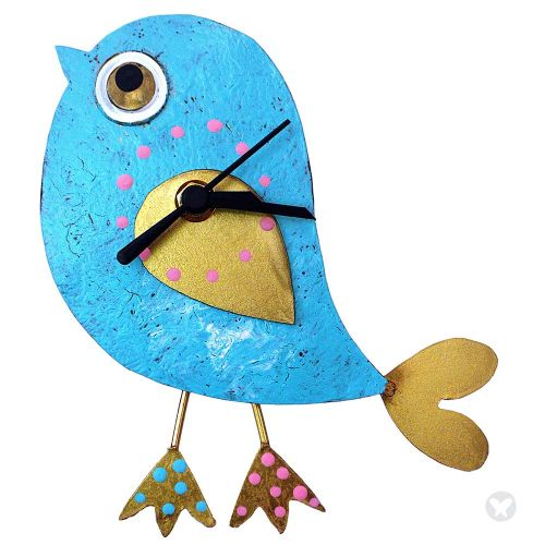 Bird wall clock teal