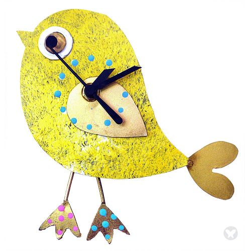 Bird wall clock yellow