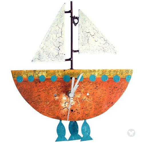 Boat wall clock orange
