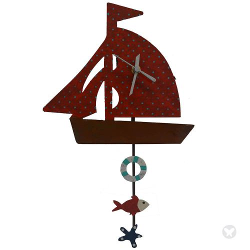 Boat wall clock red