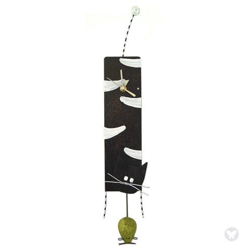 Cat and mouse wall clock black