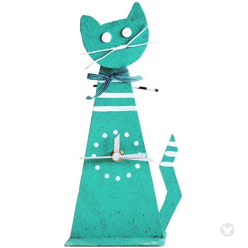 Cat table clock teal