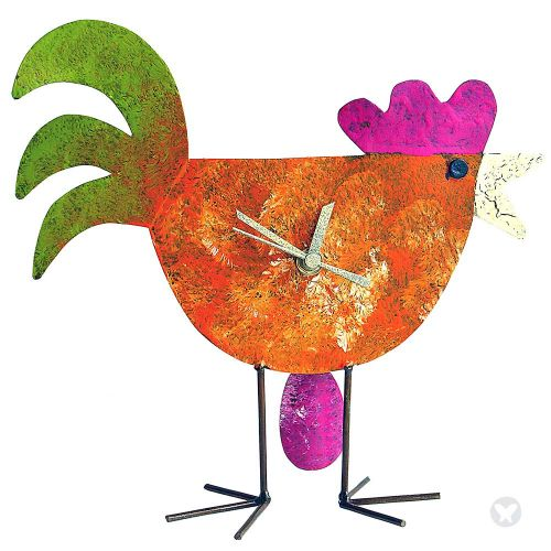 Chicken and egg table clock orange