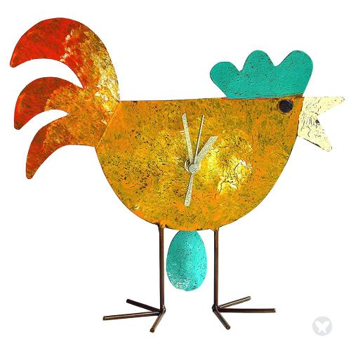 Chicken and egg table clock yellow