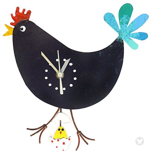 chicken wall clock with egg black