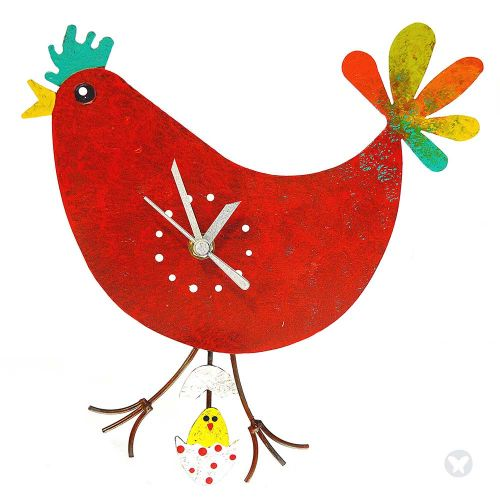 chicken wall clock with egg red