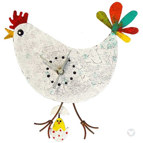 chicken wall clock with egg white
