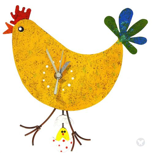 chicken wall clock with egg yellow