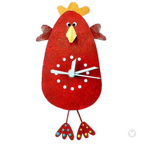Chicken whith hands  wall clock red