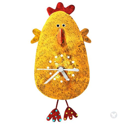 Chicken whith hands  wall clock yellow