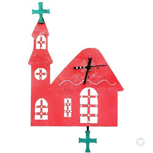 Church wall clock pink