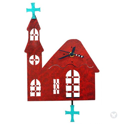 Church wall clock red