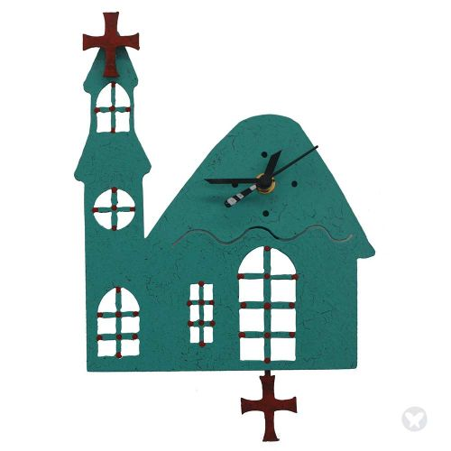 Church wall clock teal