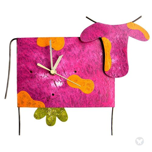 Cow wall clock with pend. fuccia
