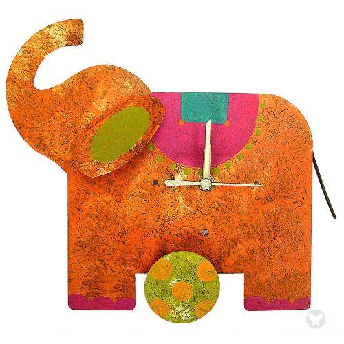 Elephant table clock orange