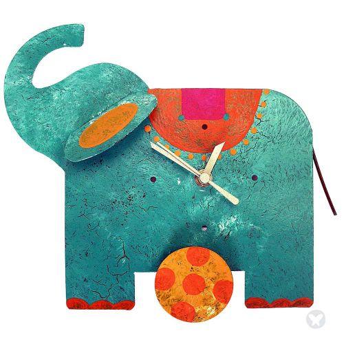Elephant table clock teal