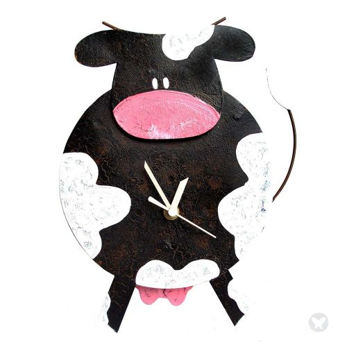 Fat cow clock black