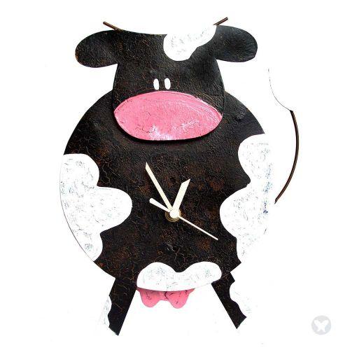 Fat cow clock black