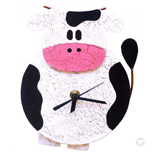 Fat cow clock white