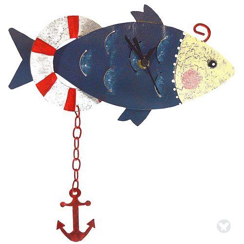 Fish wall clock blue