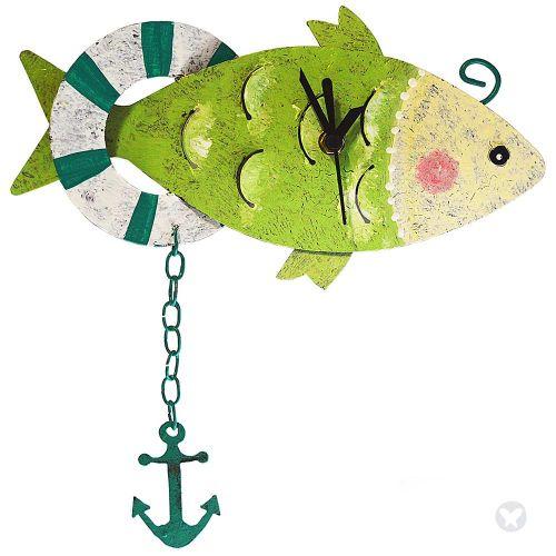 Fish wall clock green