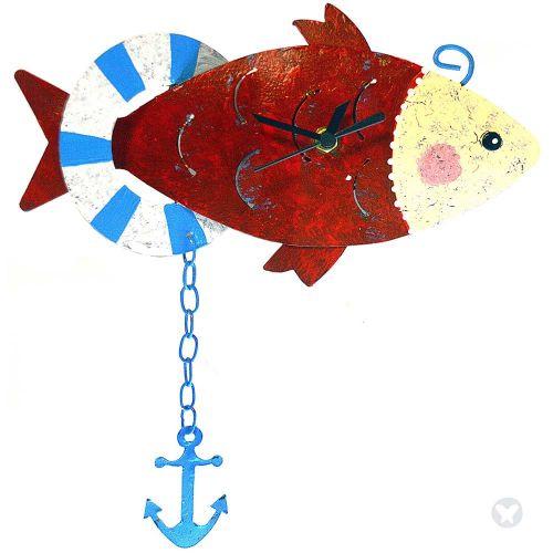 Fish wall clock red