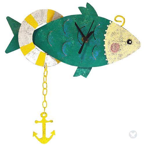 Fish wall clock teal