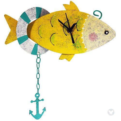 Fish wall clock yellow