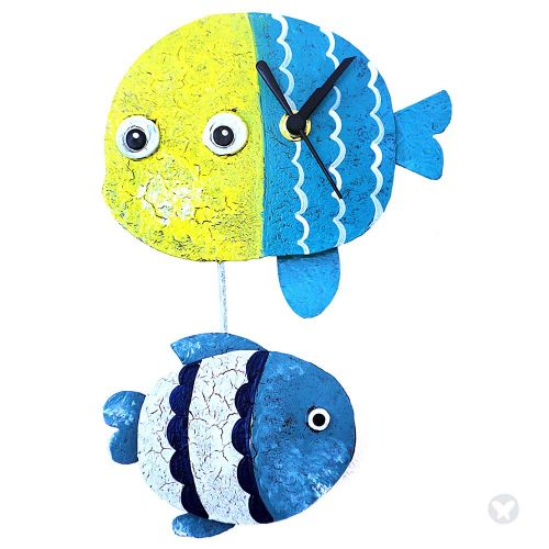 Fish wall clock yellow