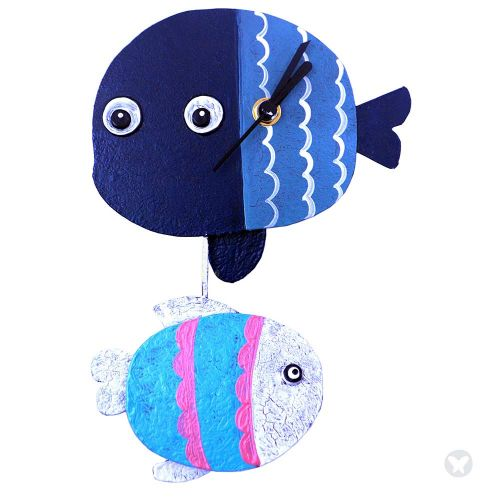 Fish wall clock blue