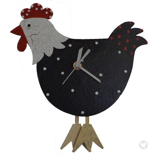 Hen wall clock black