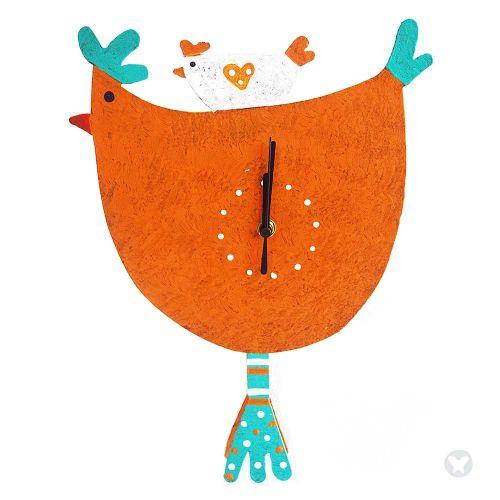 Hen wall clock orange
