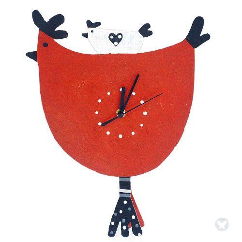 Hen wall clock red