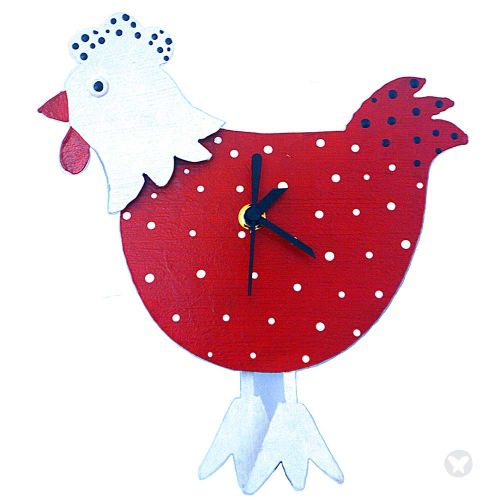 Hen wall clock red