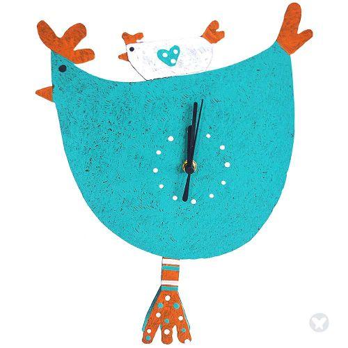 Hen wall clock teal