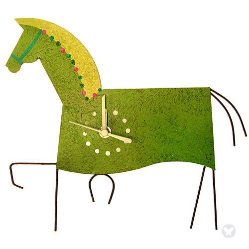 Horse wall clock green